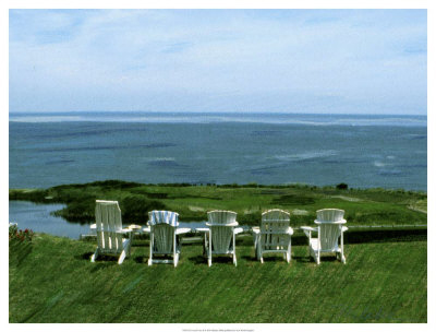 Five Adirondack Chairs  on Block Island