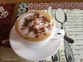 Cappuccino in mountains near volcano